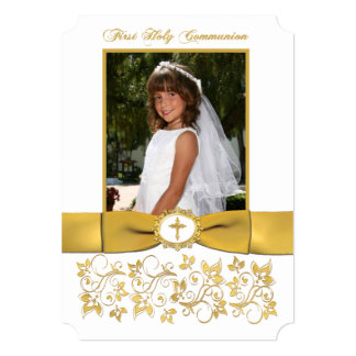Communion | PRINTED RIBBON | White, Gold | Photo Card
