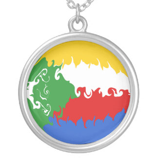 Comoros Gnarly Flag Round Pendant Necklace
