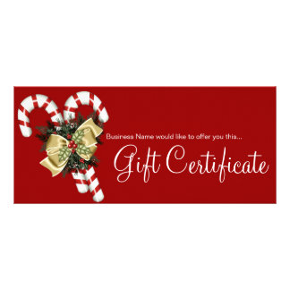 Company Gift Certificate Candy Canes & Tan Bow Full Color Rack Card