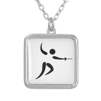 Competitive and Olympic Fencing Pictogram Square Pendant Necklace
