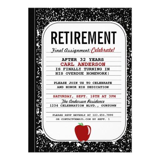 Composition Book Retirement Party Invitation