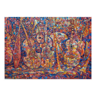 Composition with musical instruments Painting Poster