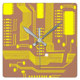 Computer Circuit Square Wall Clock