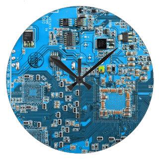 Computer Geek Circuit Board - blue Large Clock