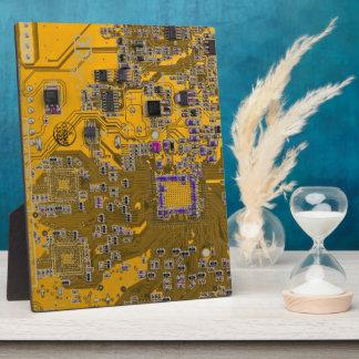 Computer Geek Circuit Board - neon orange Display Plaque