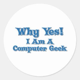 Computer Geek Round Sticker
