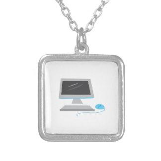 Computer Square Pendant Necklace