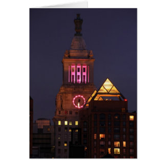 Con Edison Clock Tower lit up in Pink at Twilight Card