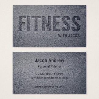 10000 instructor business cards and instructor business card concrete faux letterpress fitness personal trainer business card reheart Gallery