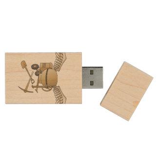 Concrete mixer beige wood USB 2.0 flash drive