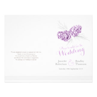Cones purple grey winter large wedding program flyer