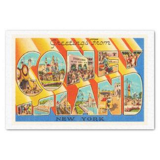 Coney Island New York NY Vintage Travel Souvenir Tissue Paper