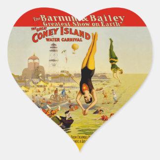 Coney Island Sideshow Poster Heart Sticker
