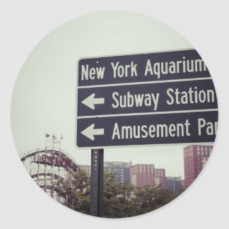 Coney Island Sign Classic Round Sticker
