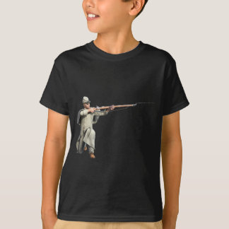 Confederate Soldier Guard with Rifle Kneeling T-Shirt