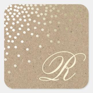 Confetti and kraft paper monogram sticker