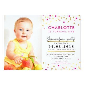 CONFETTI birthday party INVITE pink gold spot girl