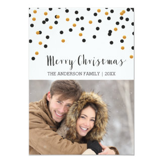Confetti black & gold Merry Christmas Card