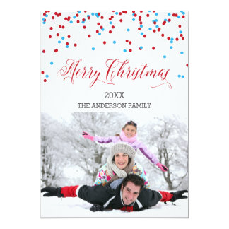 Confetti blue & red Merry Christmas Card