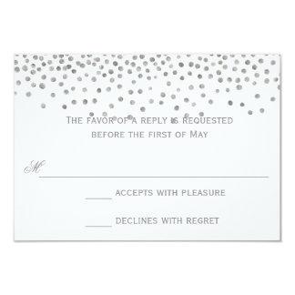 Confetti Dots Silver Wedding Response Cards 9 Cm X 13 Cm Invitation Card