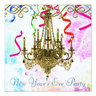 Confetti Gold Chandelier Fireworks New Years Eve Card