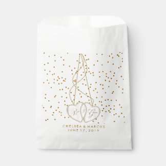 Confetti Gold Dots and Beautiful Diamond Hearts Favour Bags