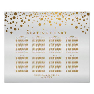 Confetti Gold Dots and White Satin - Seating Chart Poster