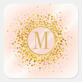 Confetti Monogram Rose Gold Foil ID445 Square Sticker