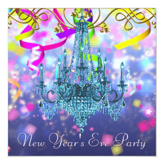 Confetti Purple Teal Blue Chandelier New Years Eve Card