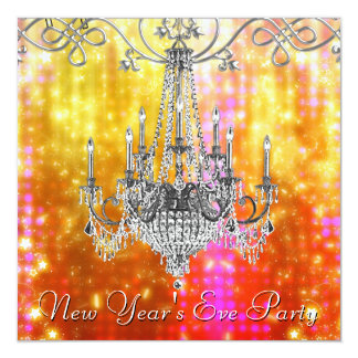 Confetti Red Gold Chandelier New Years Eve Card