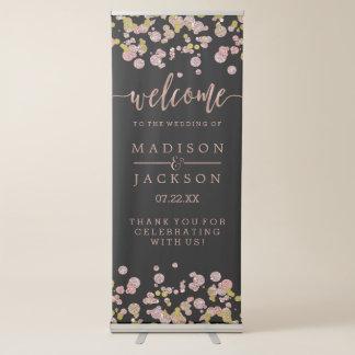 Confetti Sparkle Shine Rose Gold Wedding Welcome Retractable Banner