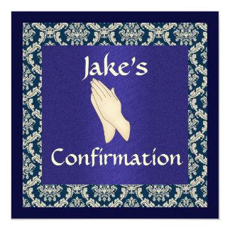 Confirmation  Blue & Beige DAMASK Card