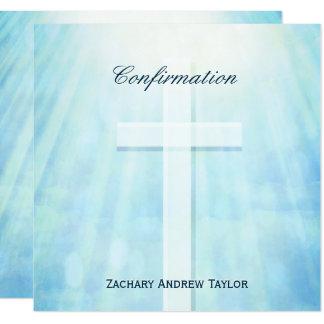 Confirmation Cross Teal Blue Card