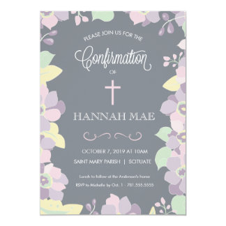 Confirmation Invitation Card with Flowers & Cross