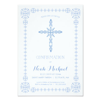 Confirmation Invitation, Elegant Invite with Cross