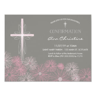 Confirmation Invitation - Invite w/ Cross, Flowers