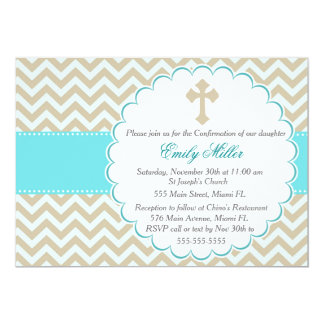 Confirmation Invitation Teal Gold Chevron