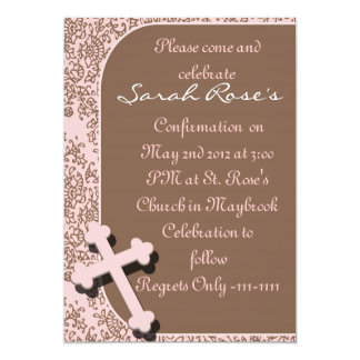 CONFIRMATION  Invitations PINK DAMASK For GIRLS