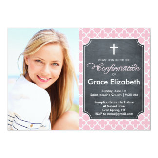 Confirmation Lattice Shape Pink Card