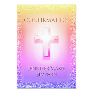 Confirmation Light Rainbow Cross Card