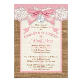 Confirmation | PRINTED BOW & CHARM | Burlap | Lace Card