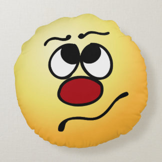 Confused Smiley Face Grumpey Round Cushion