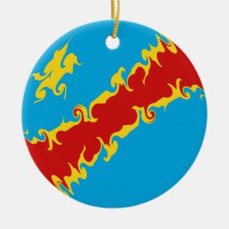 Congo-Kinshasa Gnarly Flag Round Ceramic Decoration