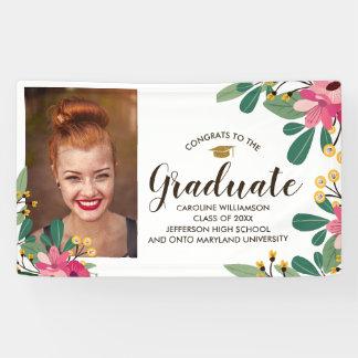 Congrats Grad Custom Photo Floral Graduation Sign