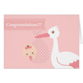 Congratulate new parents - stork with baby girl card