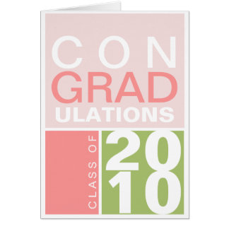 Congratulation class of year green pink modern card
