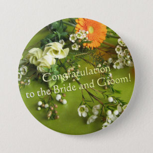 congratulation to the bride and groom 75 cm round badge