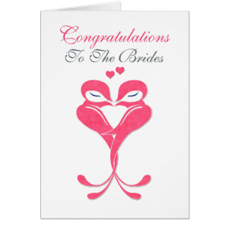 Congratulations Brides Love Birds Lesbian Wedding Card