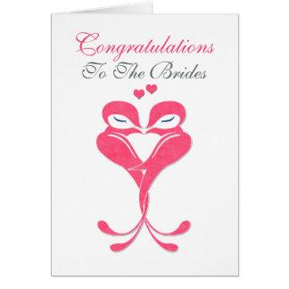 Congratulations Brides Love Birds Lesbian Wedding Greeting Card
