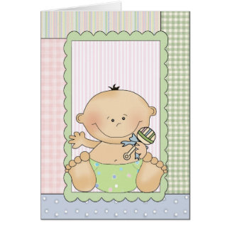 Congratulations Card: Baby With A Rattle Card